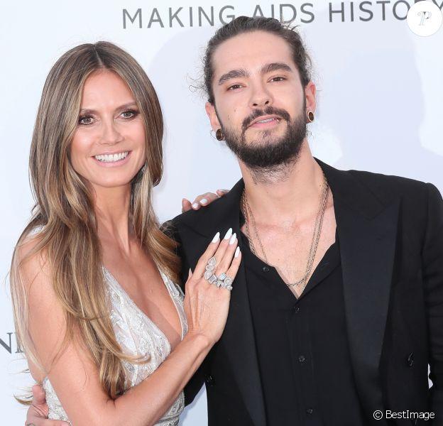 """Heidi Klum et son compagnon Tom Kaulitz - Photocall de la soirée """"amfAR Gala Cannes 2018"""" à l'Eden Roc au Cap d'Antibes, le 17 mai 2018. © Jacovides/Borde/Moreau"""