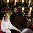 Une place est restée vacante devant la reine Elizabeth II lors du mariage du prince Harry et de Meghan Markle le 19 mai 2018 en la chapelle St George à Windsor.