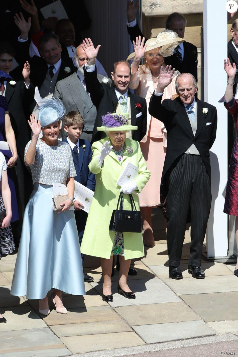 La reine Elizabeth II et le duc d\u0027Edimbourg au mariage du prince Harry et  de Meghan Markle le 19 mai 2018 à Windsor.