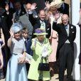 La reine Elizabeth II, le duc d'Edimbourg et la famille royale au mariage du prince Harry et de Meghan Markle le 19 mai 2018 à Windsor.