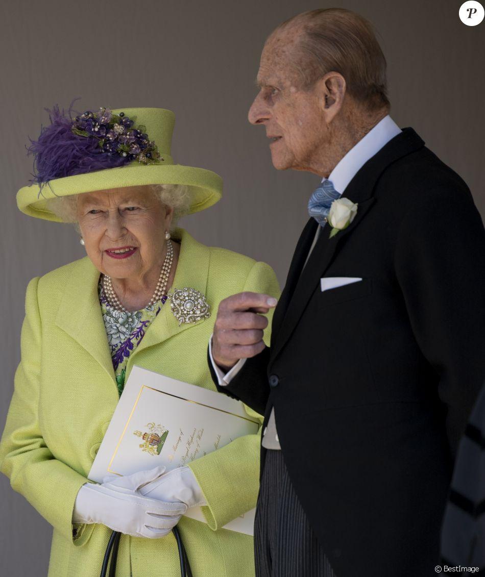 La reine Elizabeth II et le duc d\u0027Edimbourg ont assisté au mariage du  prince Harry et de Meghan Markle le 19 mai 2018 à Windsor.