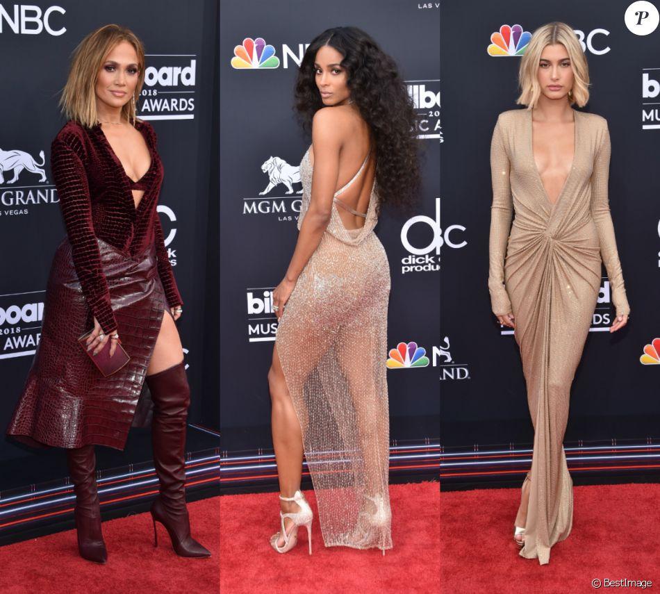 Jennifer Lopez, Ciara et Hailey Baldwin à la soirée Billboard Music Awards au MGM Grand Garden Arena à Las Vegas, le 20 mai 2018 © Chris Delmas/Bestimage