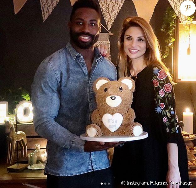 """Fulgence Ouedraogo et Ariane Brodier, enceinte, durant la """"baby shower"""". Photos postée sur Instagram le 12 décembre 2017. La naissance est prévue pour janvier."""