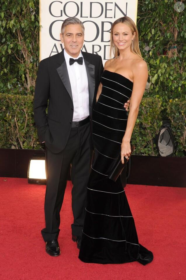 George Clooney et Stacy Keibler aux 70e Golden Globe Awards. Janvier 2013.