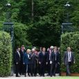 La ministre de la Culture Françoise Nyssen - Le Président de la République Emmanuel Macron et la première dame Brigitte Macron visitent le château de Ferney-Voltaire, à l'occasion de son inauguration, après deux ans de rénovation. Le 31 mai 2018. © Stéphane Lemouton / Bestimage