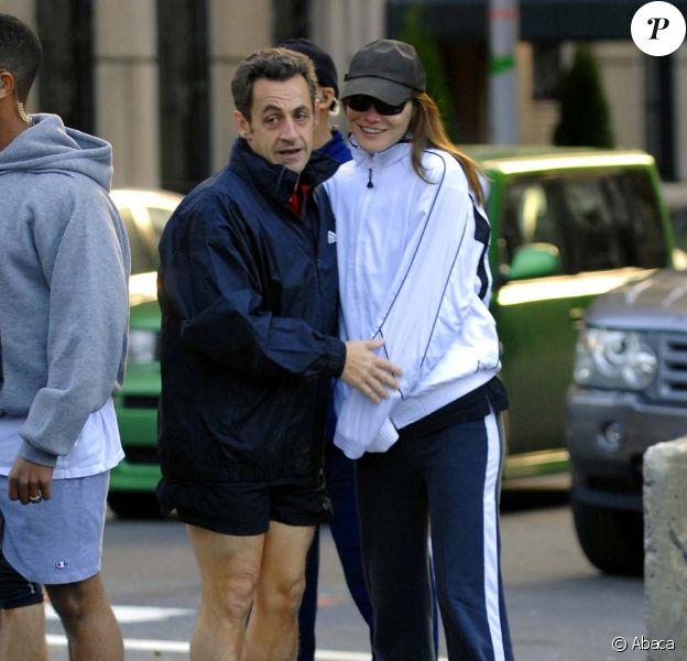 Nicolas et Carla Sarkozy en plein jogging à Washington, le 15 novembre 2008.