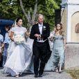 Louise Gottlieb et son père Fredrik Gottlieb, - La famille royale de Suède au Mariage de Louise Gottlieb à l'église Hölö à Stockholm en Suède. Le 2 juin 2018  Louise Gottlieb's wedding in Hölö church, Sweden, 2018-06-02 - Royal Family of Sweden02/06/2018 - Stockholm