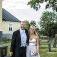 Cedric Notz, Andrea Engsäll Brodin au mariage de Louise Gottlieb et Gustav Thott à Hölö au sud de Stockholm le 2 juin 2018.