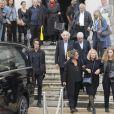La petite-fille Delphine, la fille Patricia, et la compagne de Paulette Coquatrix, Anne Maitre - Obsèques de Paulette Coquatrix au crématorium du Père-Lachaise à Paris. Le 5 juin 2018