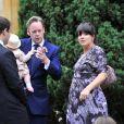 Sam Cooper, Lily Allen et sa fille Ethel Mary Allen le 1er septembre 2012, dans le Gloucestershire.