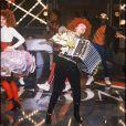 Yvette Horner lors du Téléthon en 1990 à Paris. La reine de l'accordéon est morte à 95 ans le 11 juin 2018.