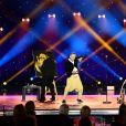 """Exclusif - Jigalov et Oleg, dans un numéro de clown, Le Téléphone et le Dessin - Enregistrement de l'émission """"Les 20 ans du Plus Grand Cabaret du Monde"""" dans la Salle des Etoiles à Monaco, qui sera diffusée le 16 juin sur France 2, dont le parrain est A.Delon. Le 1 juin 2018. © A.Bahi-B.Bebert / Bestimage"""