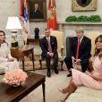 Le roi Abdallah de Jordanie et la reine Rania de Jordanie reçus par le président des Etats-Unis Donald Trump et sa femme Melania Trump à la Maison Blanche à Washington, le 25 juin 2018.
