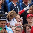 Isabelle Griezmann (mère d'Antoine Griezmann), Erika Choperena (femme d'Antoine Griezmann) et sa fille Mia - Célébrités dans les tribunes lors du match de coupe du monde opposant la France au Danemark au stade Loujniki à Moscou, Russia, le 26 juin 2018. Le match s'est terminé par un match nul 0-0. © Cyril Moreau/Bestimage