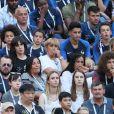 Charlotte Pirroni (compagne de Florian Thauvin), Wilfried Mbappé (père de Kylian Mbappé), Ethan Mbappé (frère de Kylian Mbappé), Alain Griezmann (père d'Antoine Griezmann), Maud Griezmann (soeur d'Antoine Griezmann), Isabelle Griezmann (mère d'Antoine Griezmann) et Erika Choperena (femme d'Antoine Griezmann) - Célébrités dans les tribunes lors du match de coupe du monde opposant la France au Danemark au stade Loujniki à Moscou, Russia, le 26 juin 2018. Le match s'est terminé par un match nul 0-0. © Cyril Moreau/Bestimage