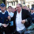 Gérard Depardieu explose de colère face à une journaliste de RTL qui lui posait des questions trop privées, lors d'une cérémonie à l'hôtel de Ville de Bruxelles, honorant sa carrière cinématographique, dans le cadre du Brussels International Film Festival de Bruxelles (BRIFF), le 25 juin 2018.