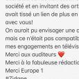 """Daphné Bürki annonce son départ d'Europe 1 et la fin de son émission """"Bonjour la France"""" sur Twitter - 31 mai 2018"""