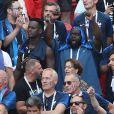 Black M (Alpha Diallo), Issa Doumbia - Célébrités dans les tribunes opposant la France à l'Argentine lors des 8ème de finale de la Coupe du monde à Kazan en Russie le 30 juin 2018 © Cyril Moreau/Bestimage  Celebrities in the stands between France and Argentina in the 8th finals of the World Cup in Kazan, Russia on June 30, 201830/06/2018 - Kazan
