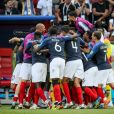 La joie des joueurs de l'équipe de France après leur victoire contre l'Argentine en 8e de finale de la Coupe du monde à Kazan en Russie le 30 juin 2018 © Cyril Moreau/Bestimage