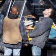 Kevin Costner et Ben Affleck sur le tournage The Company Men à Boston le 13 avril