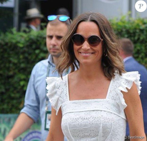 Pippa Middleton (enceinte) à son arrivée au tournoi de tennis de Wimbledon à Londres. Le 5 juillet 2018