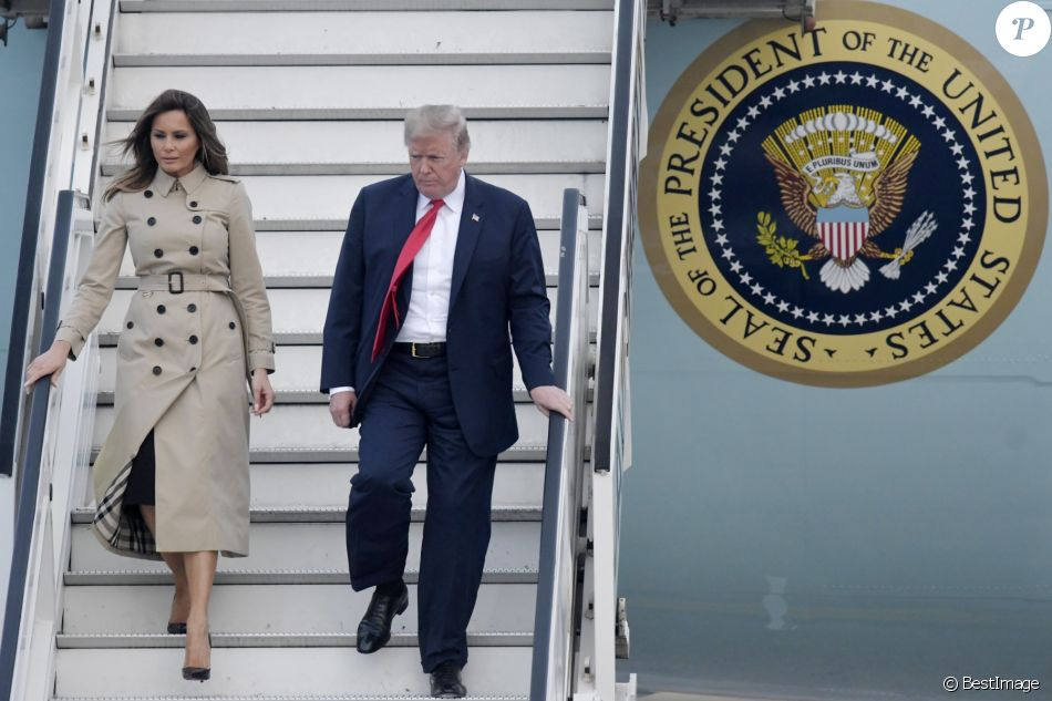 Le président des Etats-Unis Donald Trump et sa femme Melania à leur arrivée à la base aérienne de Melsbroek en vue du sommet de l'OTAN. Le 10 juillet 2018