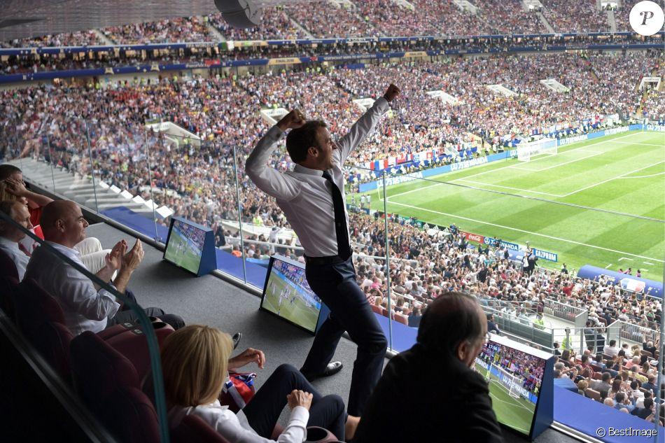 Emmanuel Macron à la finale de la Coupe du monde 2018 en Russie le 15 juillet 2018 entre la France et la Croatie