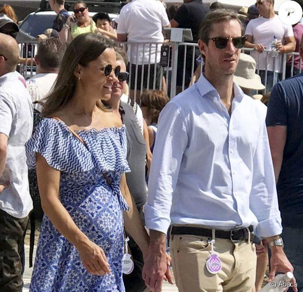 Pippa Middleton, enceinte, et son mari James Matthews au Festival of Speed de Goodwood le 14 juillet 2018, à Chichester dans le West Sussex.