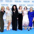 "Christine Baranski, Judy Craymer, Cher, Jessica Keenan Wynn, Alexa Davies, Meryl Streep, Amanda Seyfried et Lily Jamesà la première de ""Mamma Mia! Here We Go Again"" au cinéma Eventim Apollo à Londres, le 16 juillet 2018."