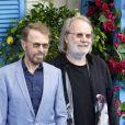 """Bjorn Ulvaeus, Benny Andersson à la première de """"Mamma Mia! Here We Go Again"""" au cinéma Eventim Apollo à Londres, le 16 juillet 2018."""