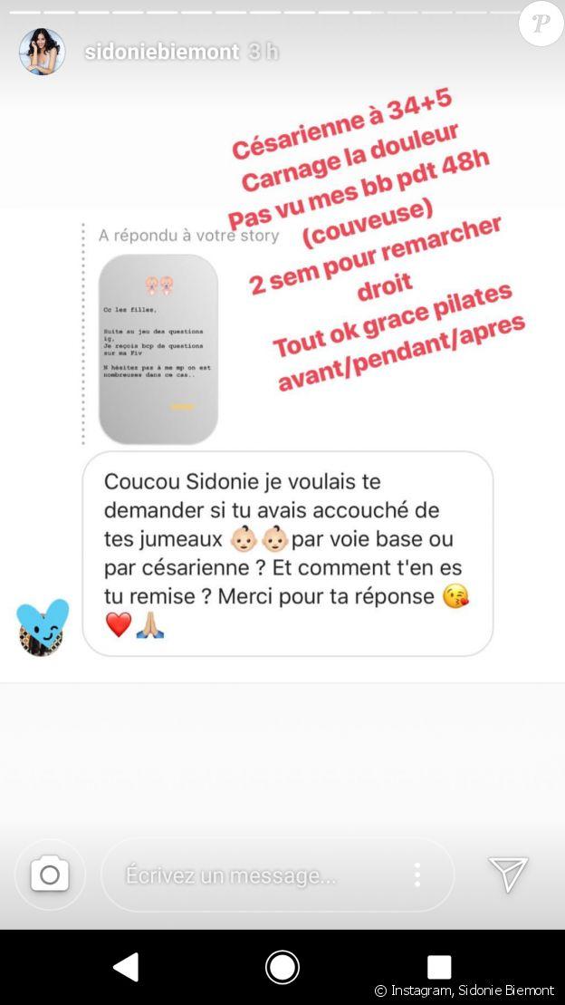 Sidonie Biemont évoque les conditions de son traitement par FIV pour avoir ses jumeaux - Instagram, 17 juillet 2018