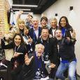 Didier Deschamps entouré de son fils Dylan, Nagui, Mélanie Page, Valérie Bègue, Jean Roch, Bruno Solo, Leïla Kaddour lors du Mondial 2018. Instagram, le 22 juin 2018.