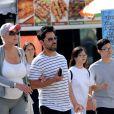 Exclusif - Brigitte Nielsen (enceinte à 54 ans) et son mari Mattia Dessi dans les rues de Los Angeles le 11 juin 2018.