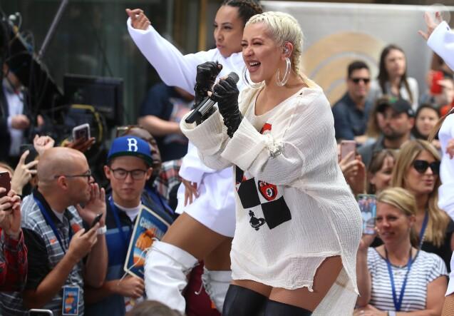 """Christina Aguilera en concert à l'occasion du """"Today Show"""" à New York le 15 juin 2018."""