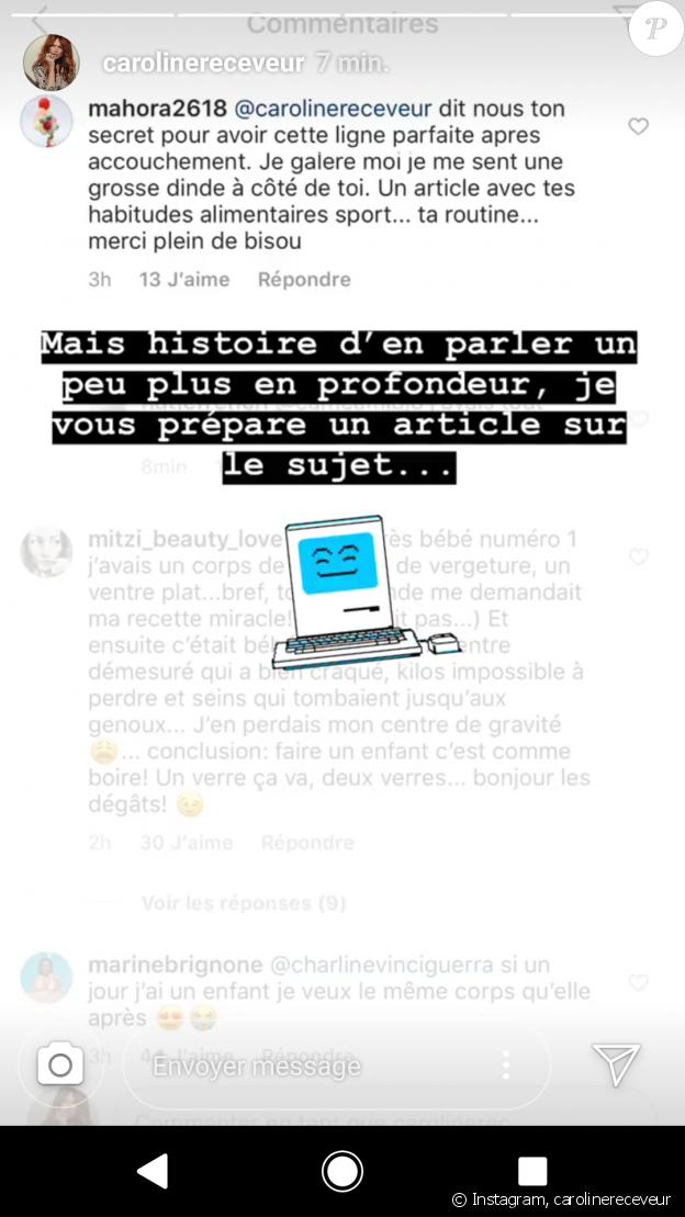 Caroline Receveur amincie un mois après son accouchement, elle dévoile son secret - Story, Instagram, samedi 4 août 2018