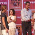 Le roi Felipe VI d'Espagne et sa soeur l'infante Elena ont remis les prix de la 37e Copa del Rey à Palma de Majorque le 4 août 2018.