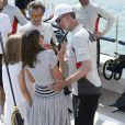 La reine Letizia d'Espagne et ses filles Leonor et Sofia ont rendu visite au roi Felipe VI à bord de son bateau Aifos au dernier jour de la 37e Copa del Rey au club nautique de Palma de Majorque le 4 août 2018.