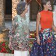 Le roi Felipe VI, la reine Sofia et la reine Letizia d'Espagne lors de la traditionnelle réception au Palais Royal de Almudaina à Palma de Majorque le 3 août 2018.