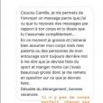"""Camille Cerf assume ses """"défauts"""" sur Instagram, le 12 août 2018. Ici le message d'une admiratrice."""