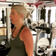 Kelly Stafford, épouse du quarterback des Detroit Lions Matthew Stafford, en pleine séance de sport intensive alors qu'elle est au terme de sa grossesse, le 15 août 2018 dans le Michigan.