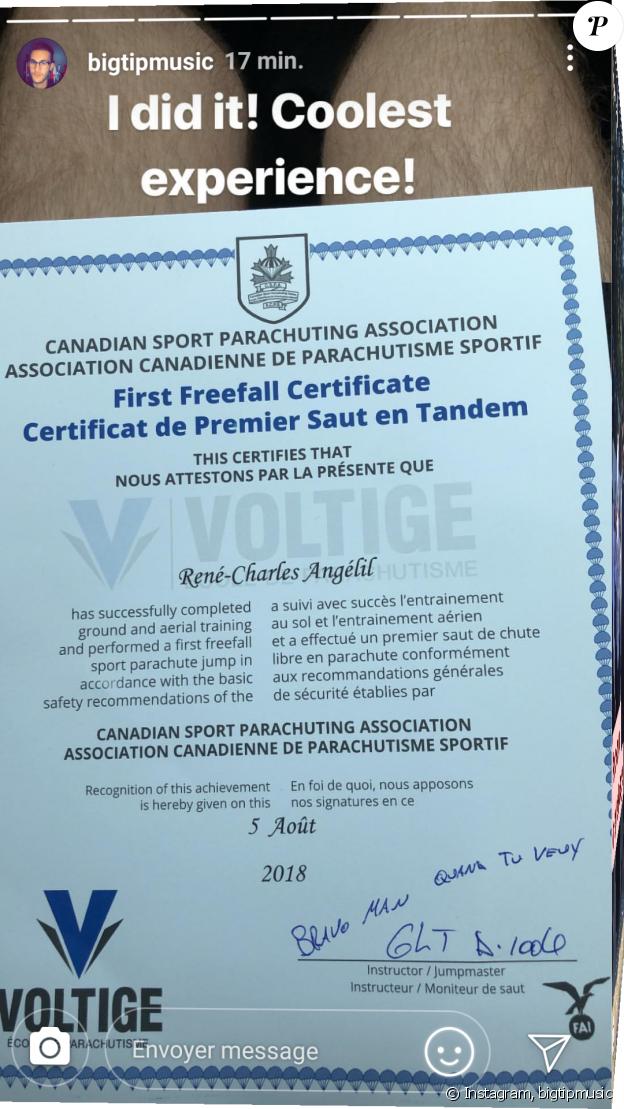René-Charles Angélil a partagé la photo de son certificat après un saut en parachute. Instagram, août 2018