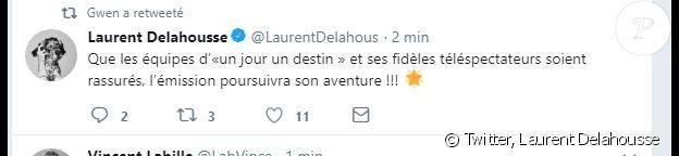 """Laurent Delahousse dément les informations de disparition de """"Un jour, un destin"""" - Twitter, 23 août 2018"""