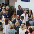 Sortie des mariés lors du Mariage civil de Vincent Cassel et Tina Kunakey à la mairie de Bidart au pays basque le 24 août 2018. © Patrick Bernard / Guillaume Collet / Bestimage