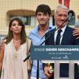 Claude, Dylan et Didier Deschamps durant l'inauguration du Stade de football Didier Deschamps à Cap d'Ail le 12 septembre 2018. © Bruno Bebert / Bestimage