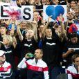 Les joueurs de tennis français Julien Benneteau et Nicolas Mahut opposés aux joueurs espagnols Marcel Granollers et Feliciano Lopez lors de la Demi finale double, de la Coupe Davis de tennis France / Espagne, remportée par la France: (6-0, 6-4, 7-6) à Villeneuve-d'Ascq, France, le 15 septembre 2018.