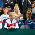Joalukas Noah, sa mère Isabelle Camus et Clémence Bertrand (la compagne de Lucas Pouille) lors du match opposant le joueur de tennis français Lucas Pouille, et le joueur espagnol Roberto Bautista Agut, lors de la Demi finale simple de la Coupe Davis de tennis France / Espagne, remportée par la France: (3-6, 7-6[5], 6-4, 2-6, 6-4) à Villeneuve-d'Ascq, France, le 14 septembre 2018.