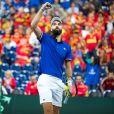 Le joueur de tennis français Benoît Paire, opposé au joueur espagnol Pablo Carreno Busta, lors de la Demi finale simple de la Coupe Davis de tennis France / Espagne, remportée par la France: (7-5, 6-1, 6-0) à Villeneuve-d'Ascq, France, le 14 septembre 2018.