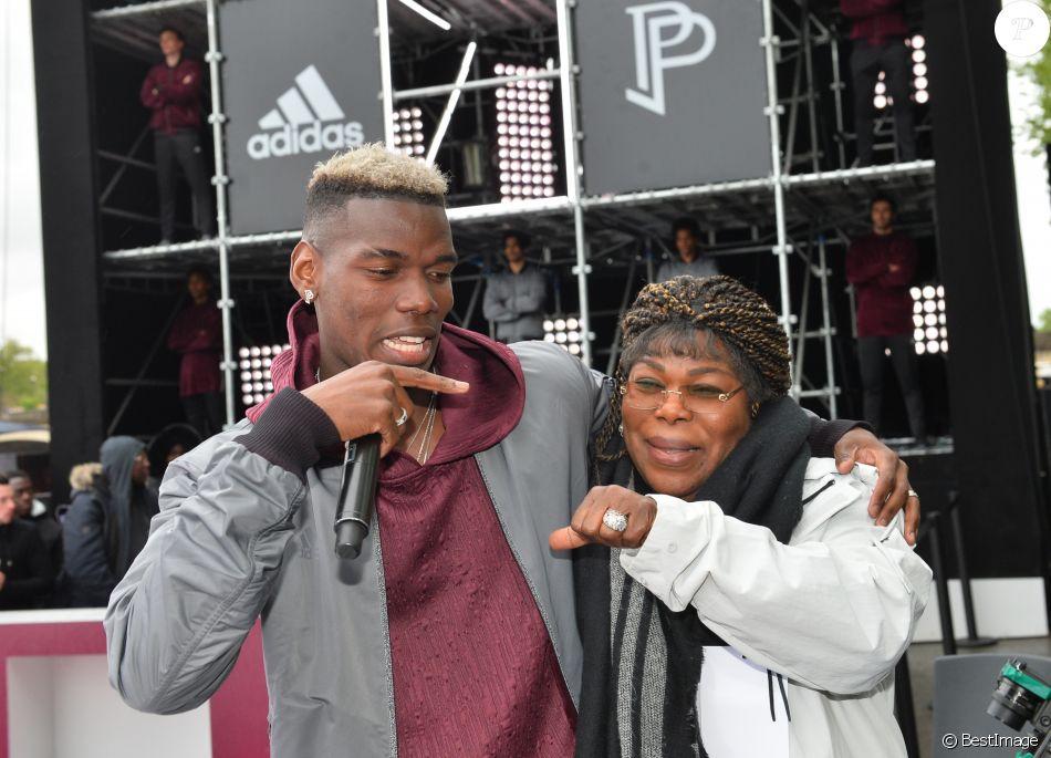 Paul Pogba et sa mère Yeo Moriba - Paul Pogba participe au lancement de sa 3e collection capsule Adidas à Paris le 30 avril 2018. © Veeren/Bestimage