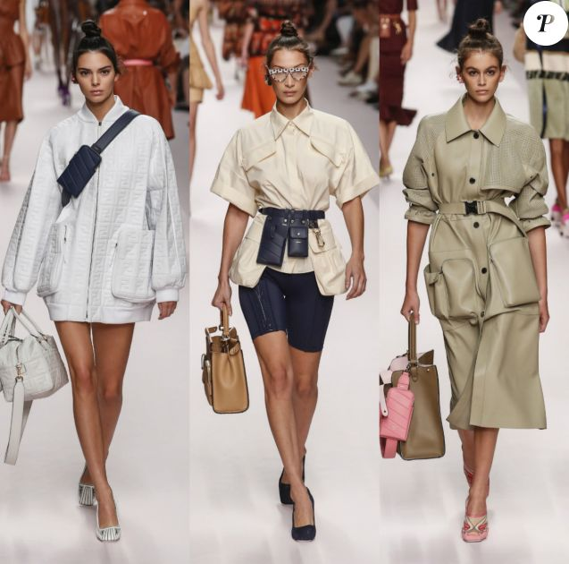 """Kendall Jenner, Bella Hadid et Kaia Gerber - Défilé Fendi """"Collection Prêt-à-Porter Printemps/Eté 2019"""" lors de la Fashion Week de Milan (MLFW), le 20 septembre 2018."""