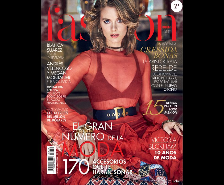 Cressida Bonas, habillée par Dior, en couverture de Hola! Fashion, octobre 2018.